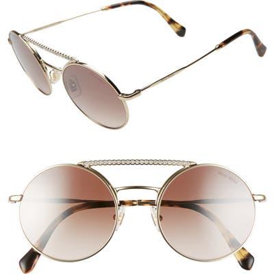 Miu Miu 50Mm Round Crystal Embellished Aviator Sunglasses - Gold/ Brown Grad Mirr