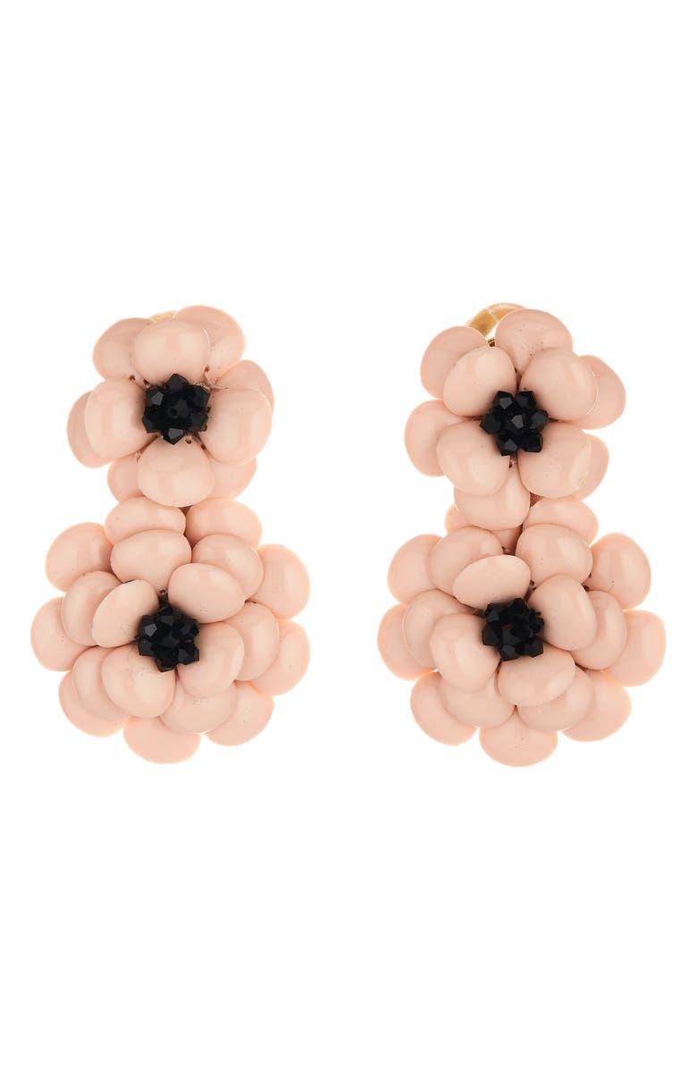 OSCAR DE LA RENTA Resin Flower Clip Earrings, Main, color, LIGHT PINK