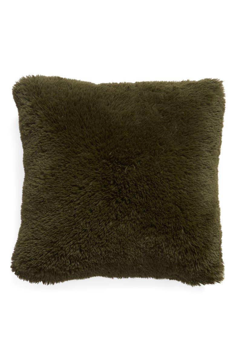 BP. Shaggy Plush Accent Pillow, Main, color, OLIVE SARMA