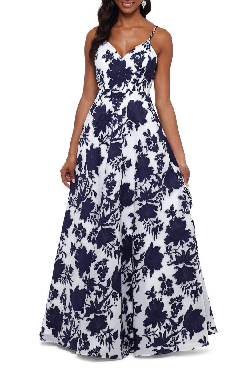 XSCAPE Beaded Floral Burnout Organza Evening Dress, Main, color, 900