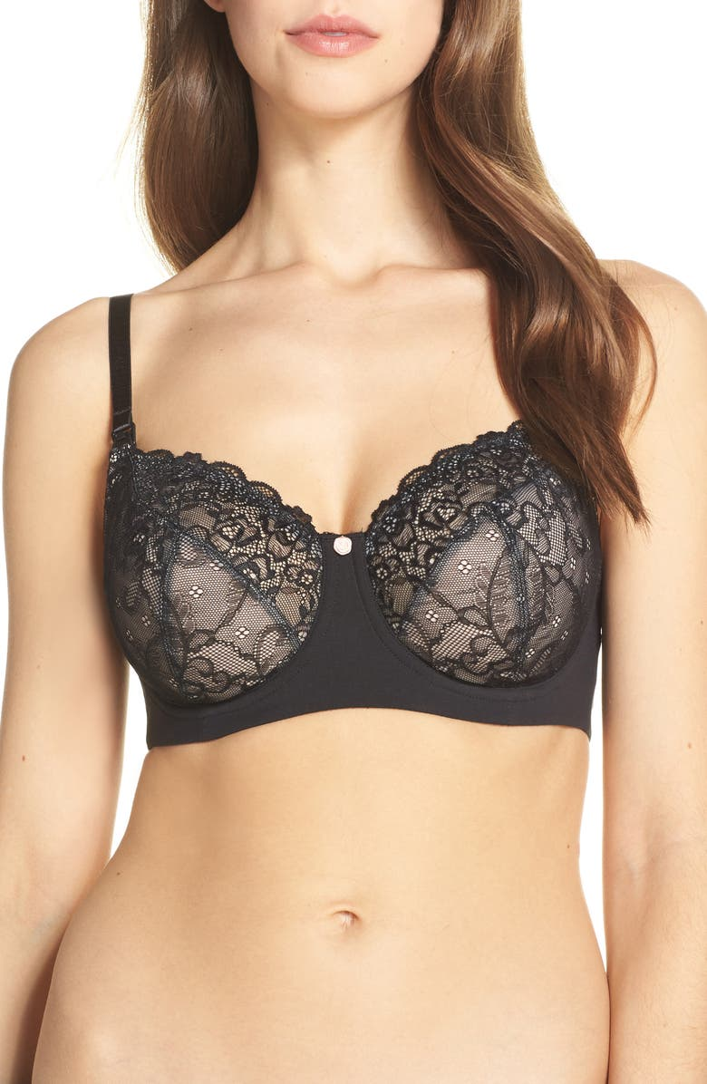 HOTMILK Temptation Underwire Lace Maternity/Nursing Bra, Main, color, BLACK