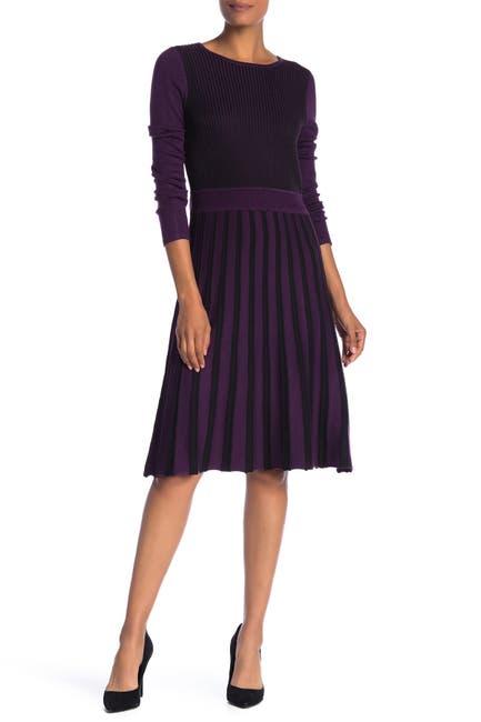 Image of Spense Fit & Flare Stripe Sweater Dress