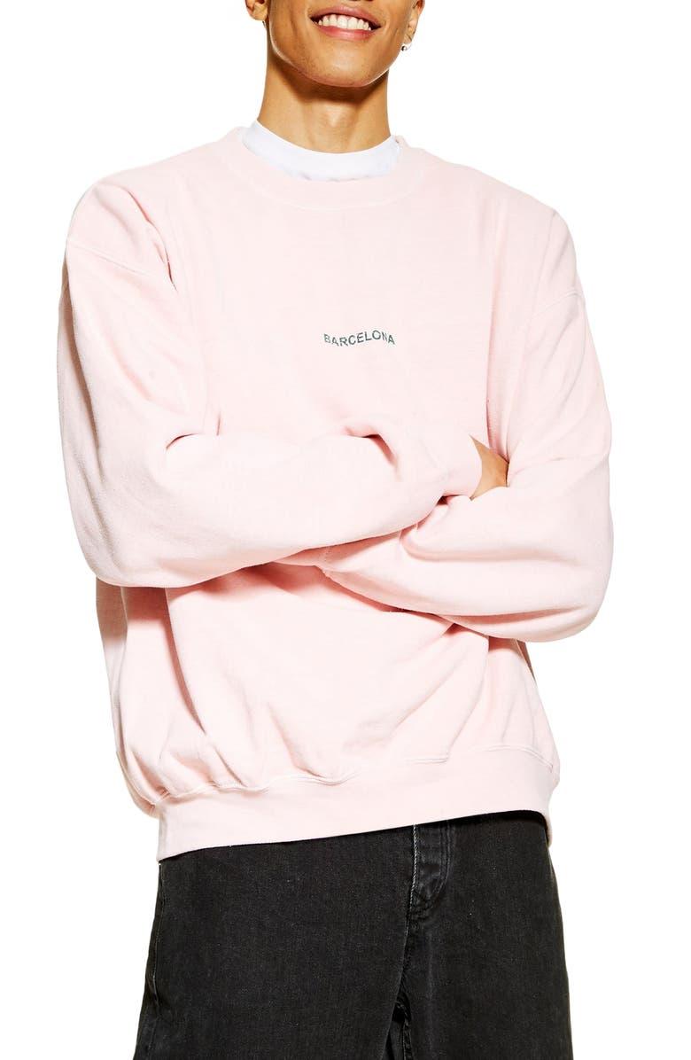 TOPMAN Barcelona Sweatshirt, Main, color, PINK
