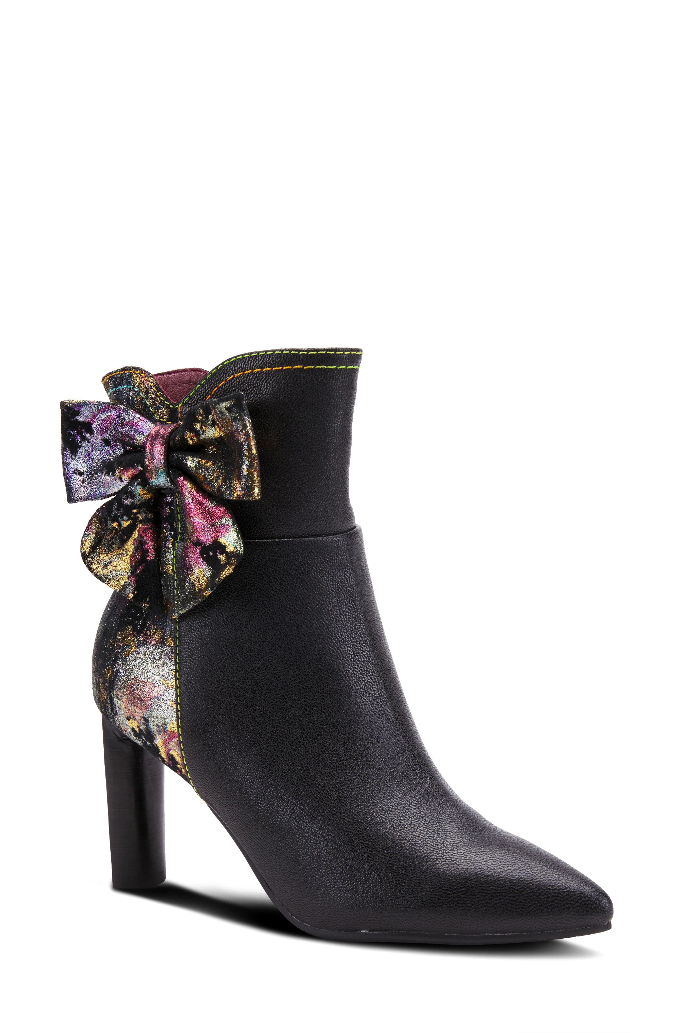 A shimmering bow and plethora of colors detail the back of a pointy-toe bootie lofted by a slender rectangular heel. Style Name:L\\\'Artiste Bow Bootie (Women). Style Number: 6143713. Available in stores.