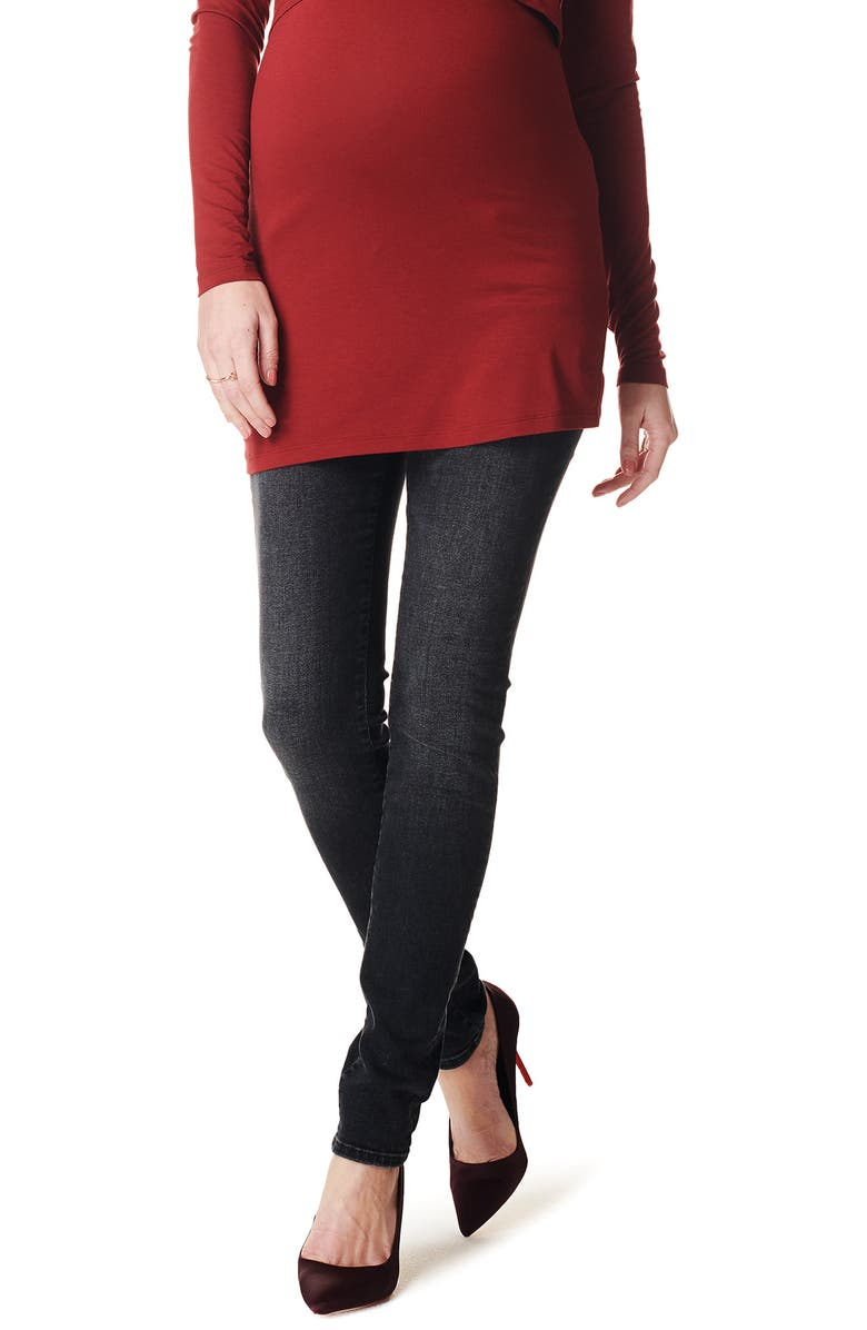 NOPPIES Ava Over the Belly Skinny Maternity Jeans, Main, color, MID DARK GREY