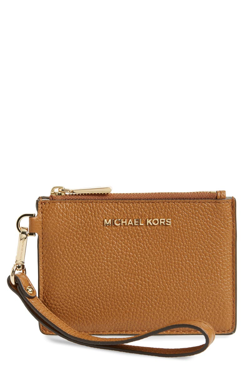 MICHAEL MICHAEL KORS Small Mercer Leather RFID Coin Purse, Main, color, 200
