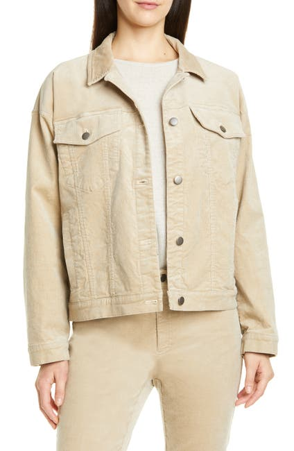 Image of Eileen Fisher Cotton Blend Corduroy Trucker Jacket