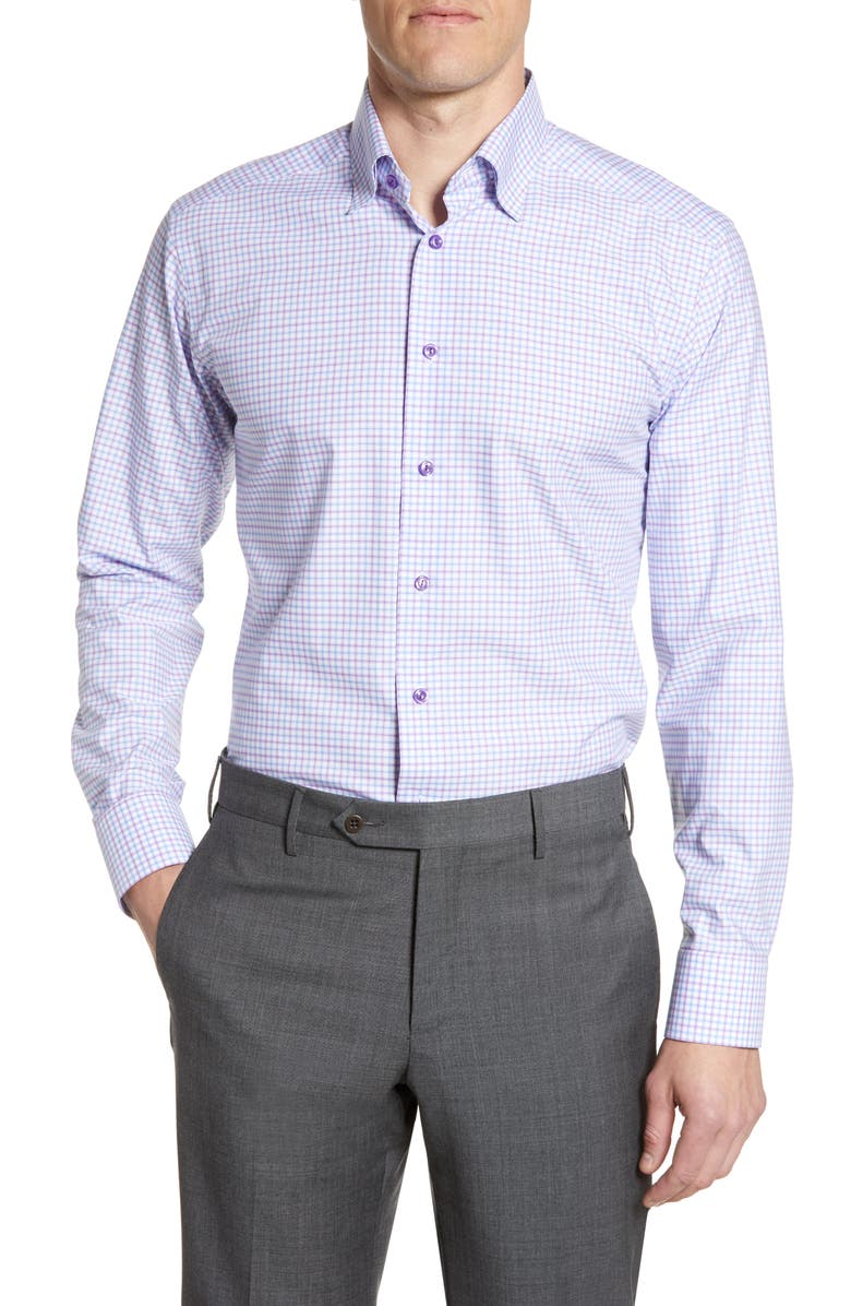 ETON Slim Fit Check Print Dress Shirt, Main, color, PURPLE