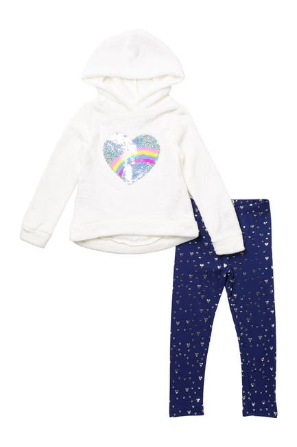 Image of Btween Fuzzy Sequined Hoodie & Heart Print Leggings 2-Piece Set