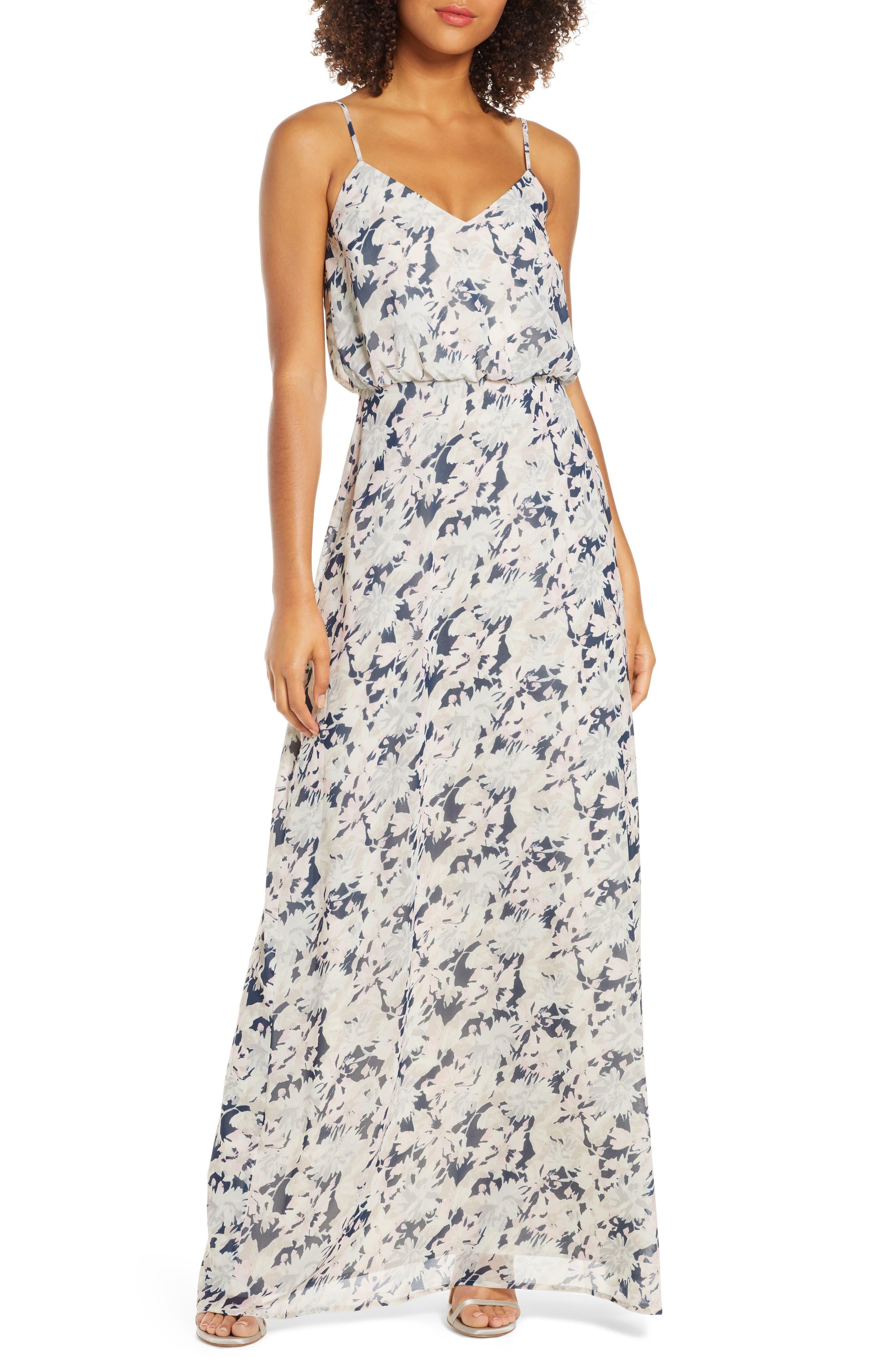 Wayf The Savannah Floral Print Blouson Gown, Blue