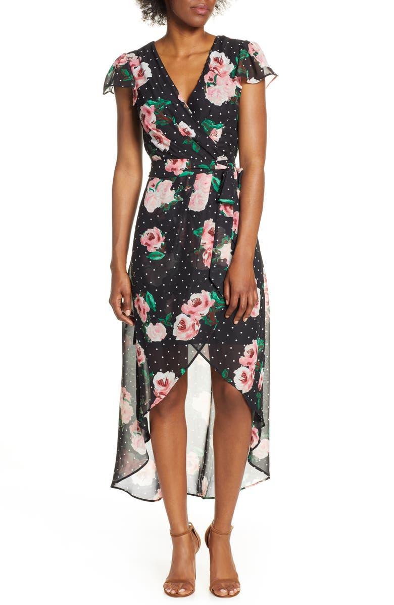 JULIA JORDAN High/Low Chiffon Faux Wrap Dress, Main, color, BLACK MULTI