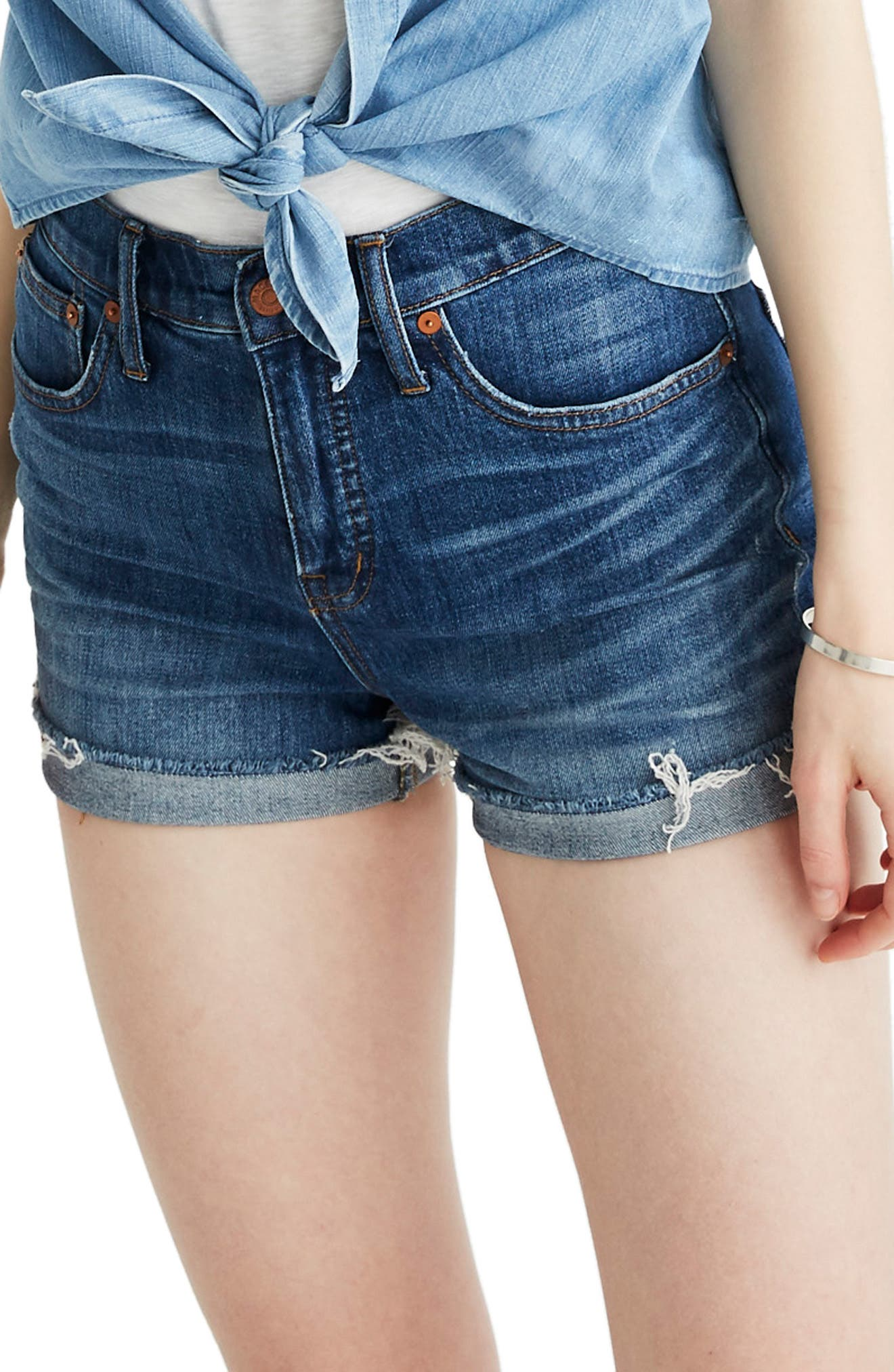 High Rise Cuffed Denim Shorts, Main, color, GLEN OAKS