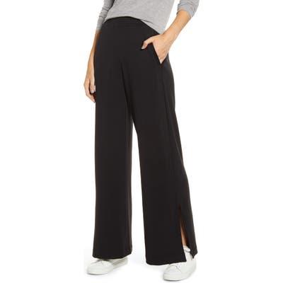 Lou & Grey Plush Wide Leg Sweatpants, Black