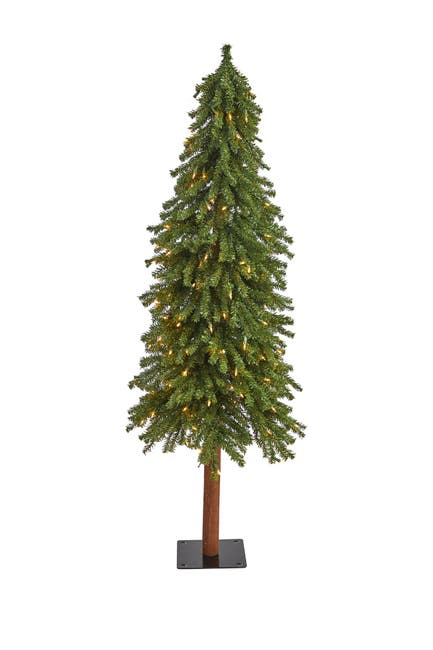 Image of NEARLY NATURAL 5ft. Grand Alpine Artificial Christmas Tree with 200 Clear Lights on Natural Trunk