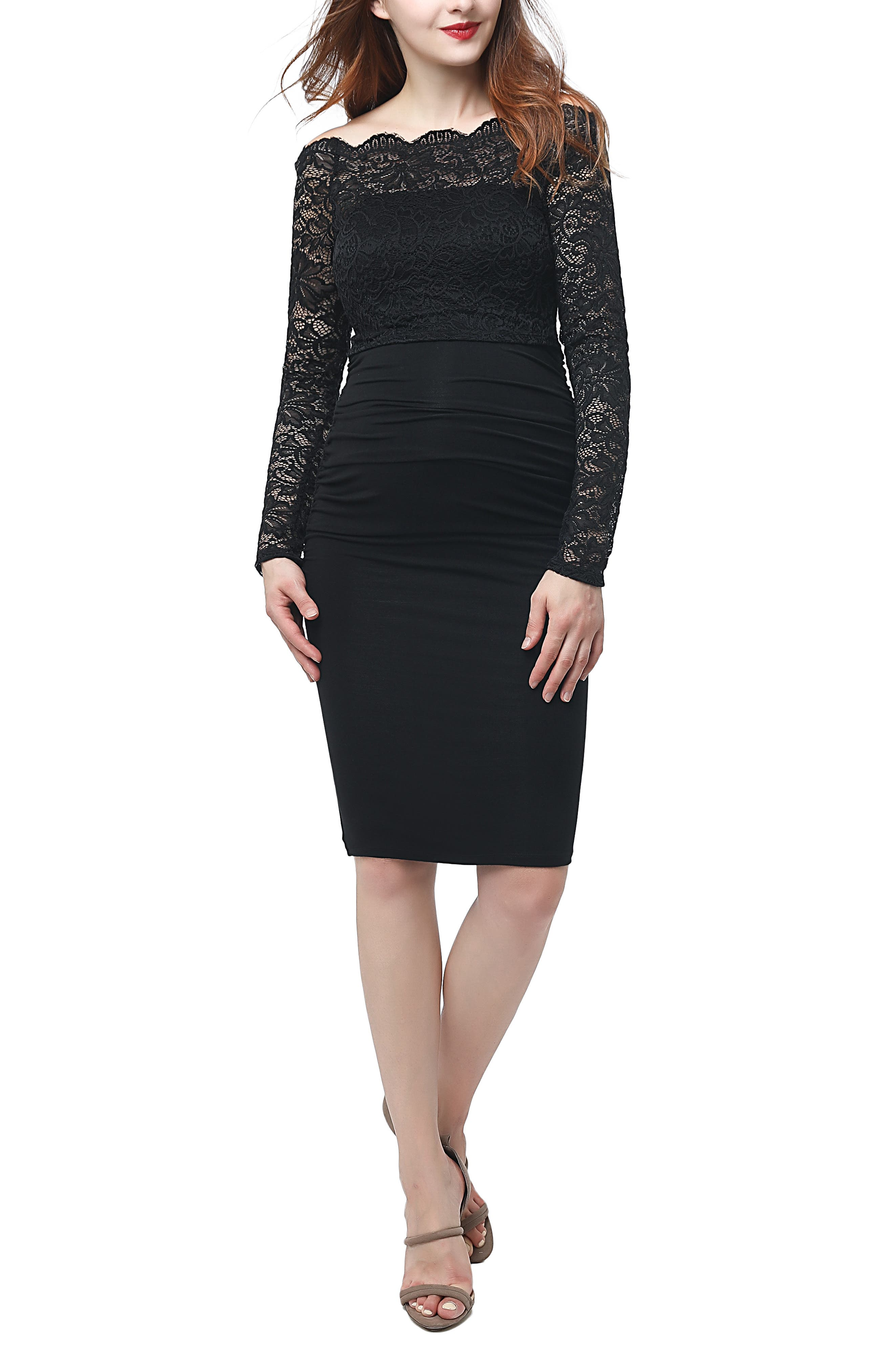 Kimi And Kai Hannah Convertible Off-The-Shoulder Maternity Sheath Dress, Black