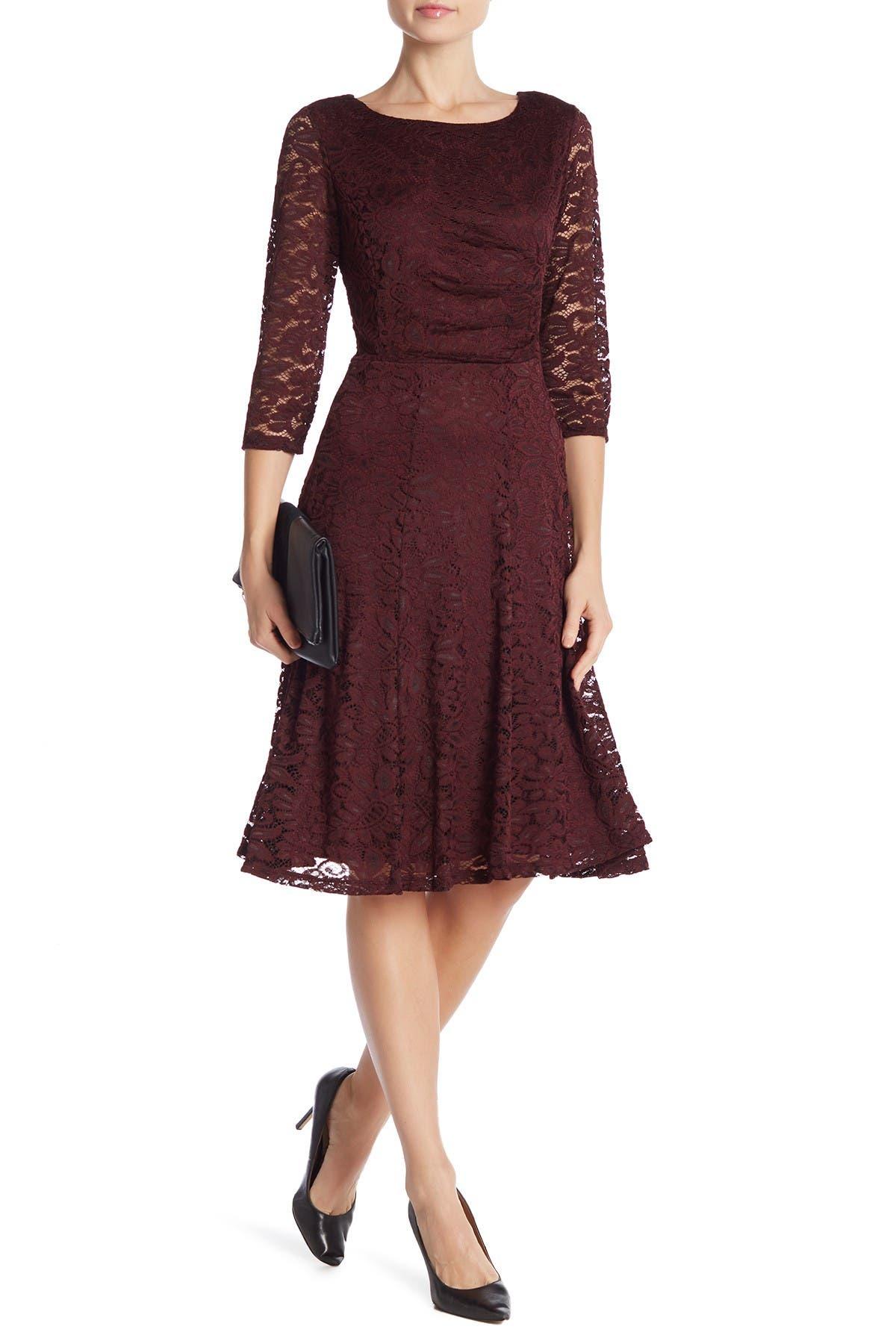 Image of Sandra Darren 3/4 Sleeve Lace Dress