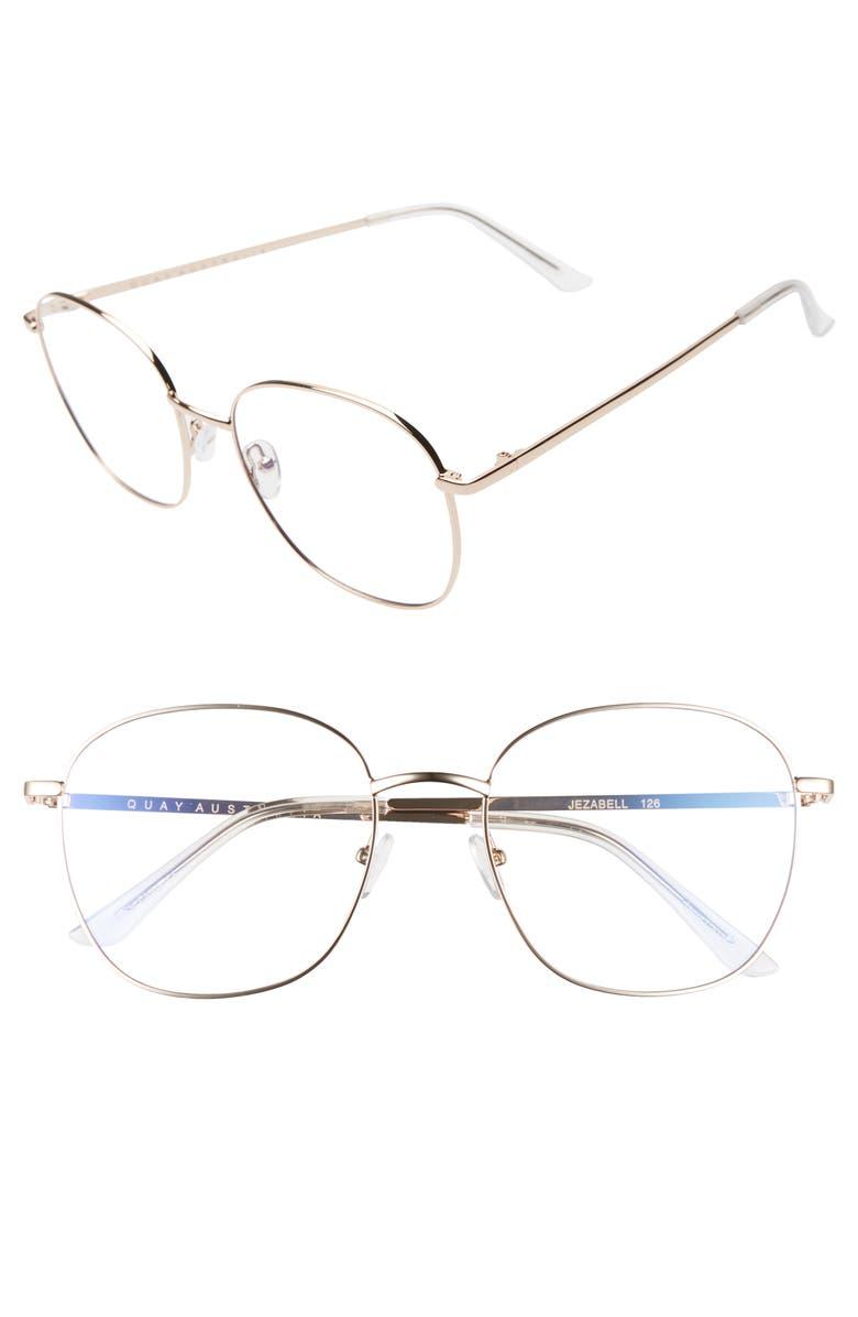 QUAY AUSTRALIA Jezabell 58mm Blue Light Filtering Glasses, Main, color, GOLD/ CLEAR BLUE LIGHT