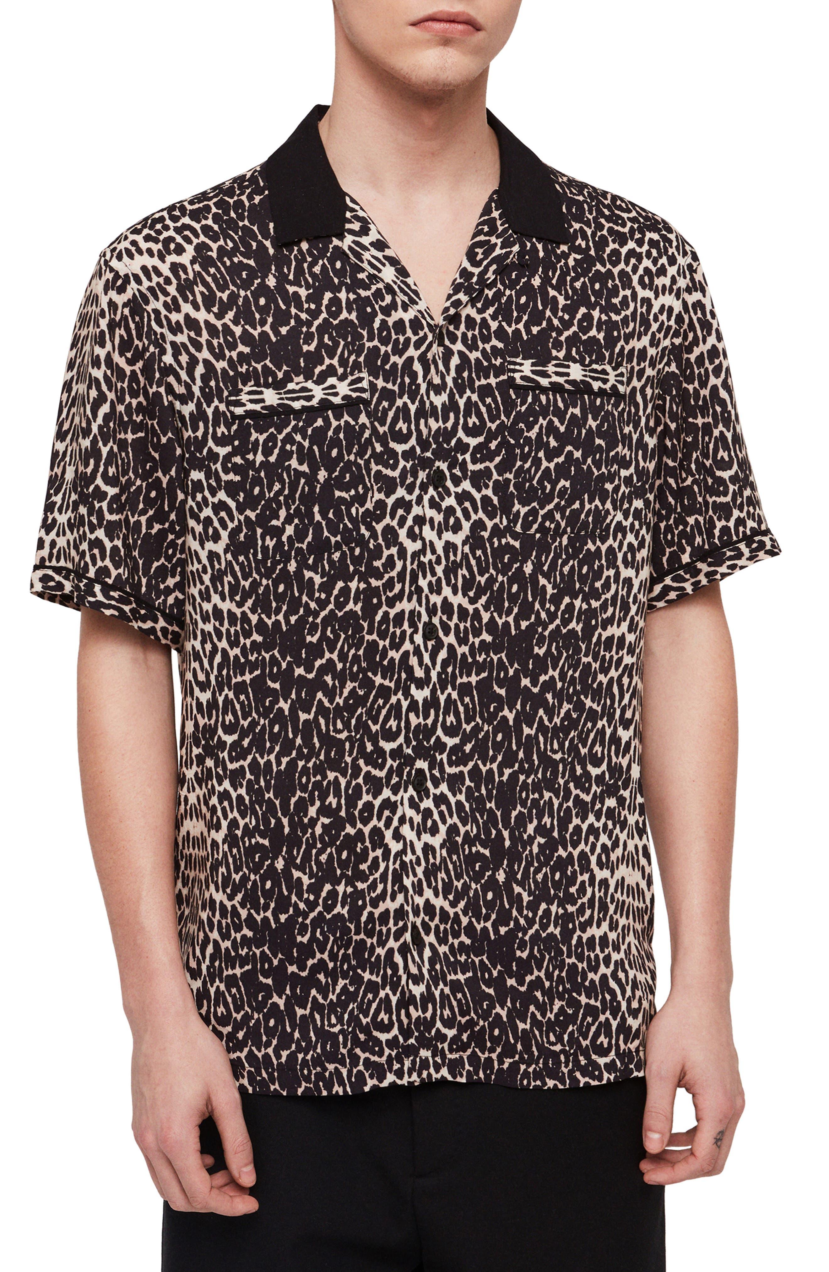 1960s – 70s Mens Shirts- Disco Shirts, Hippie Shirts Mens Allsaints Feline Slim Fit Camp Shirt $64.98 AT vintagedancer.com