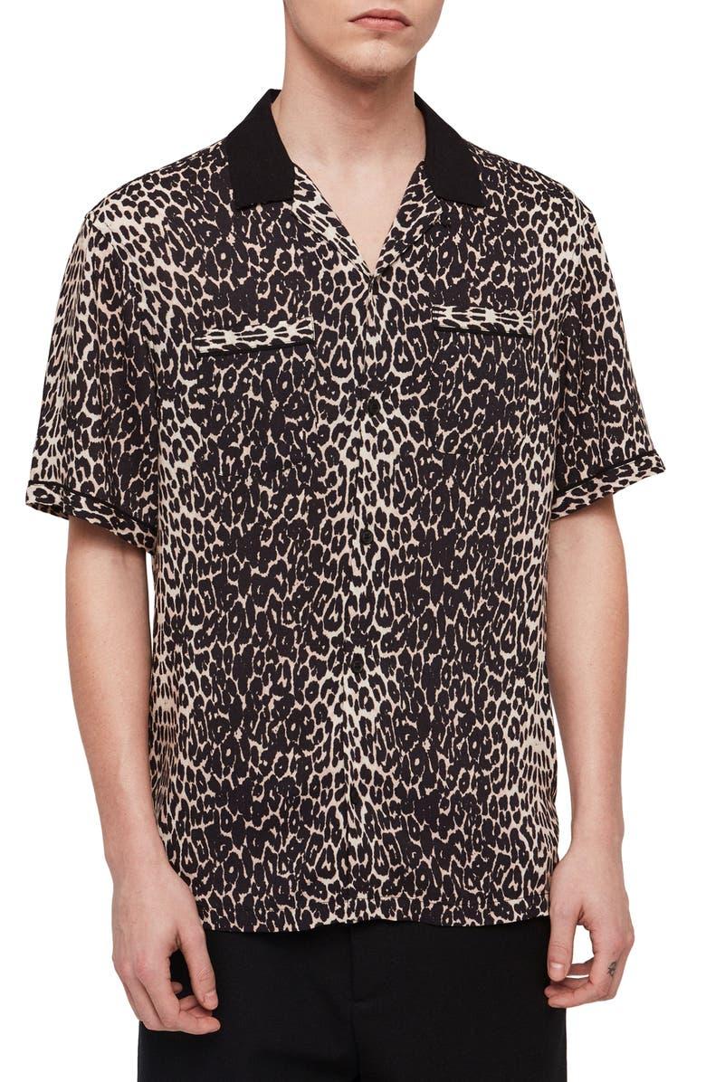 ALLSAINTS Feline Slim Fit Camp Shirt, Main, color, 124