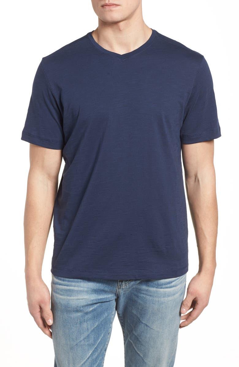 TOMMY BAHAMA Portside Palms V-Neck T-Shirt, Main, color, MARITIME