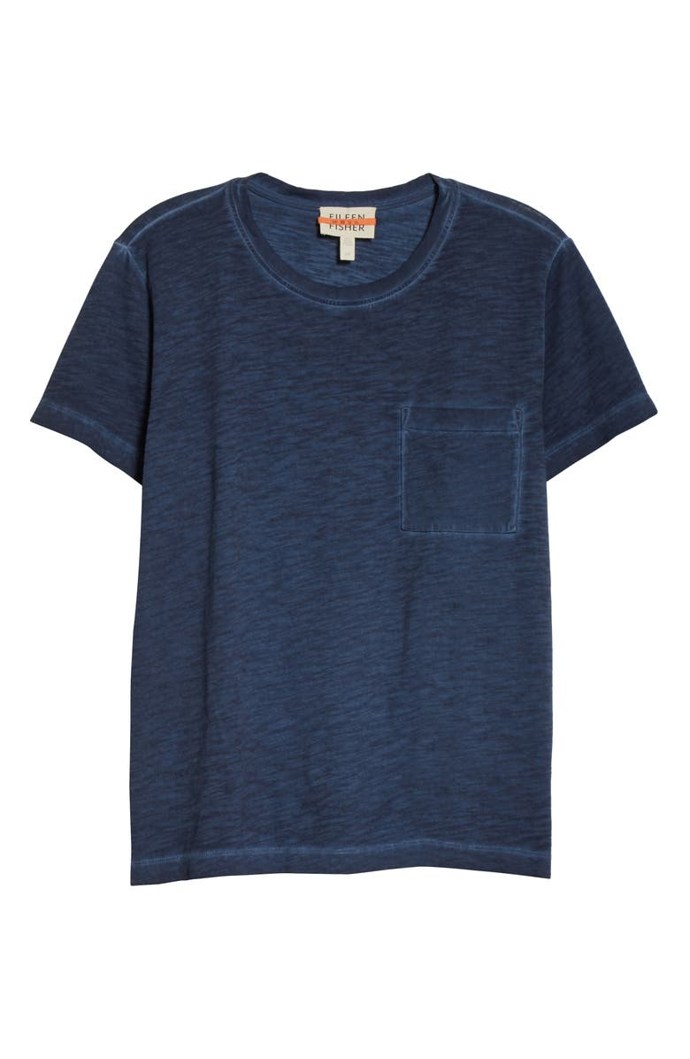 EILEEN FISHER Slubby Organic Cotton Top, Main, color, NAVY