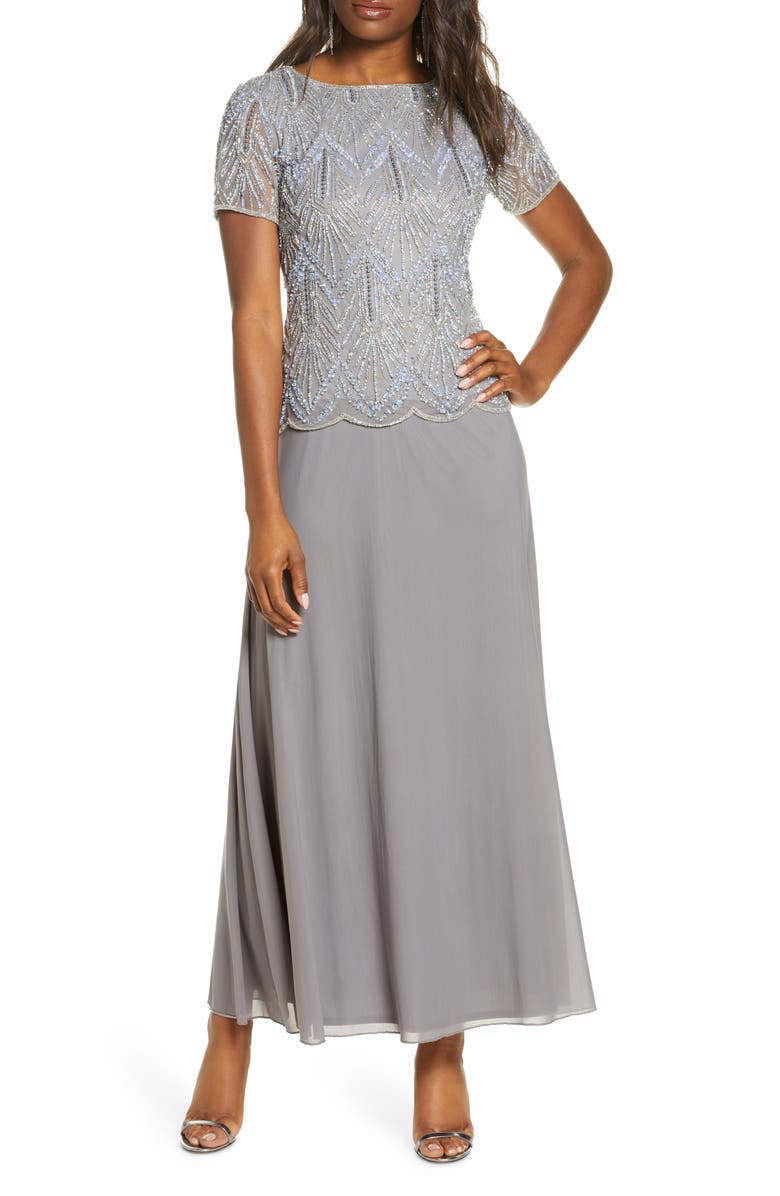 PISARRO NIGHTS Beaded Bodice Chiffon Gown, Main, color, STEEL