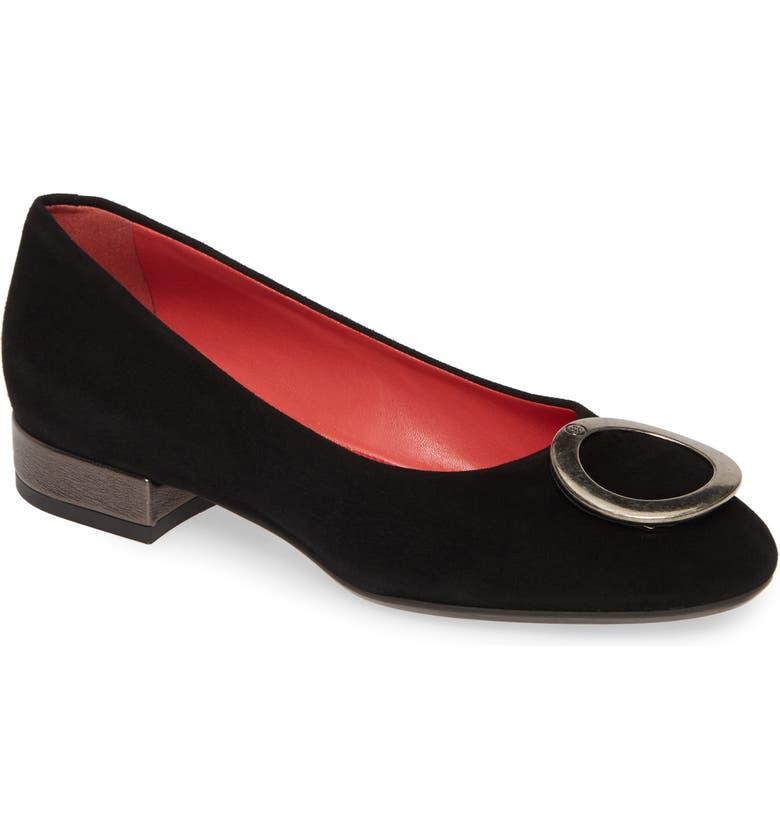 PAS DE ROUGE Daria Embellished Flat, Main, color, BLACK SUEDE/ LEATHER