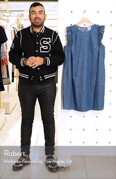 Flutter Sleeve Denim Shift Dress, sales video thumbnail