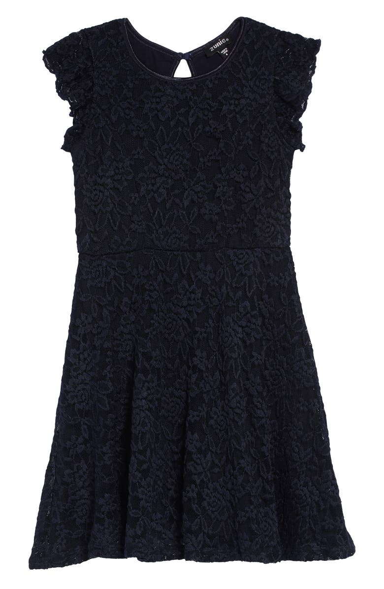 ZUNIE Ruffle Lace Skater Dress, Main, color, NAVY