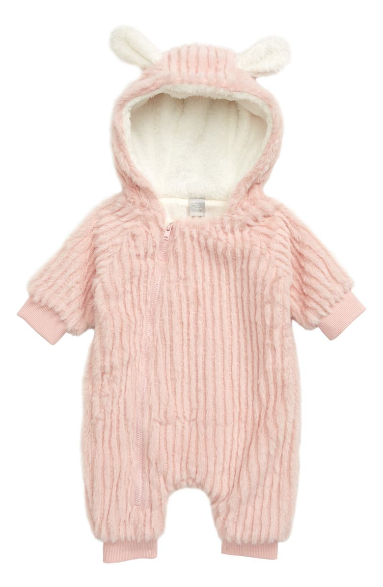 NORDSTROM Baby Bunny Faux Fur Hooded Bunting, Main, color, PINK SMOKE