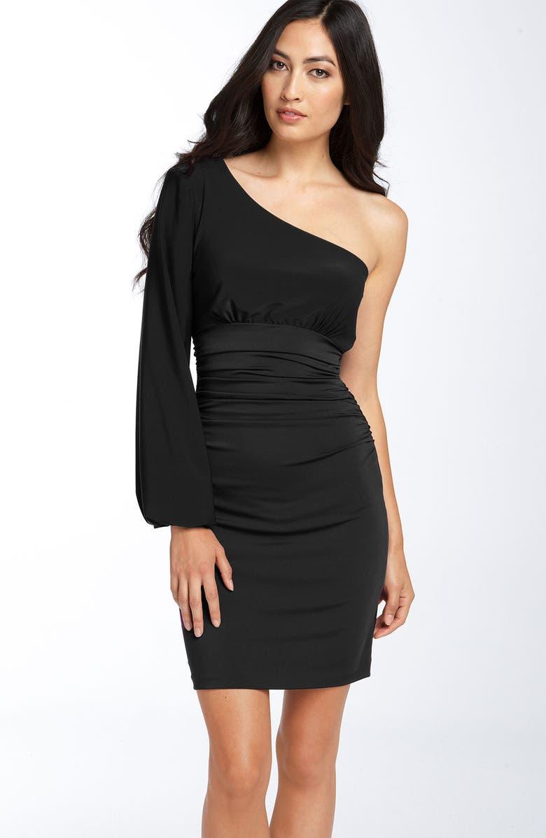 MAGGY LONDON One Shoulder Matte Jersey Dress, Main, color, 001