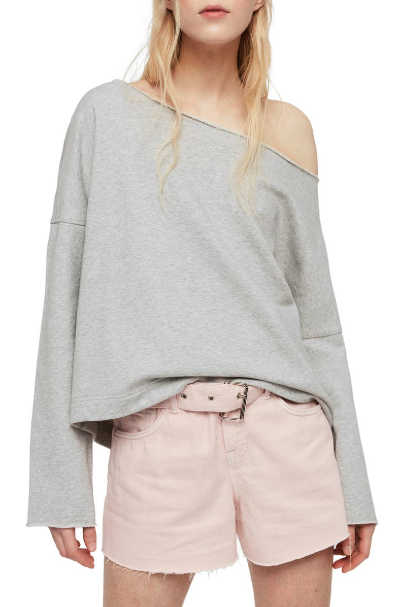 ALLSAINTS Senia Sweatshirt, Main, color, GREY MARL