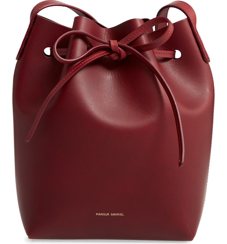 MANSUR GAVRIEL Mini Leather Bucket Bag, Main, color, BORDO