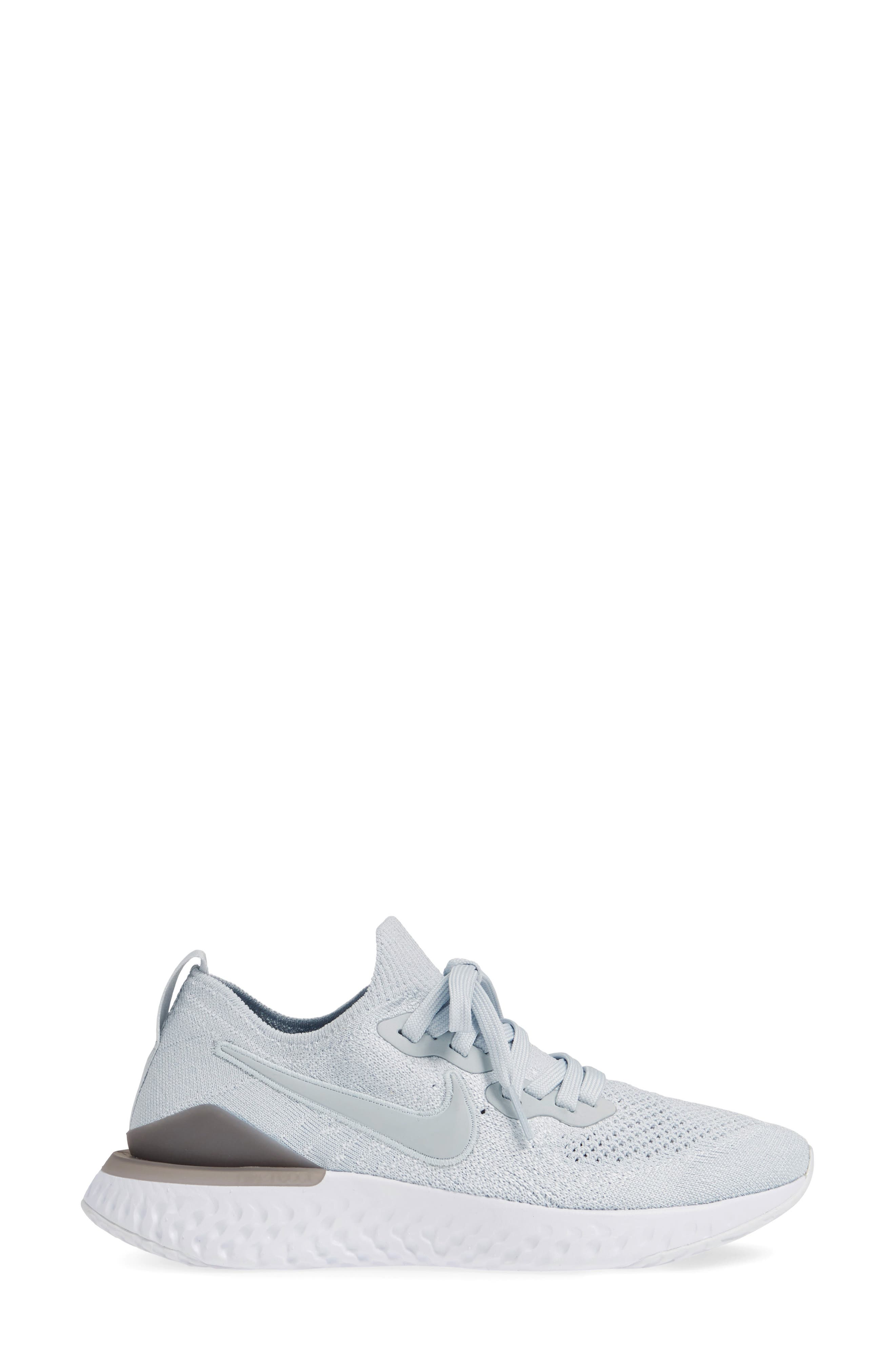 ,                             Epic React Flyknit 2 Running Shoe,                             Alternate thumbnail 4, color,                             PURE PLATINUM/ WOLF GREY