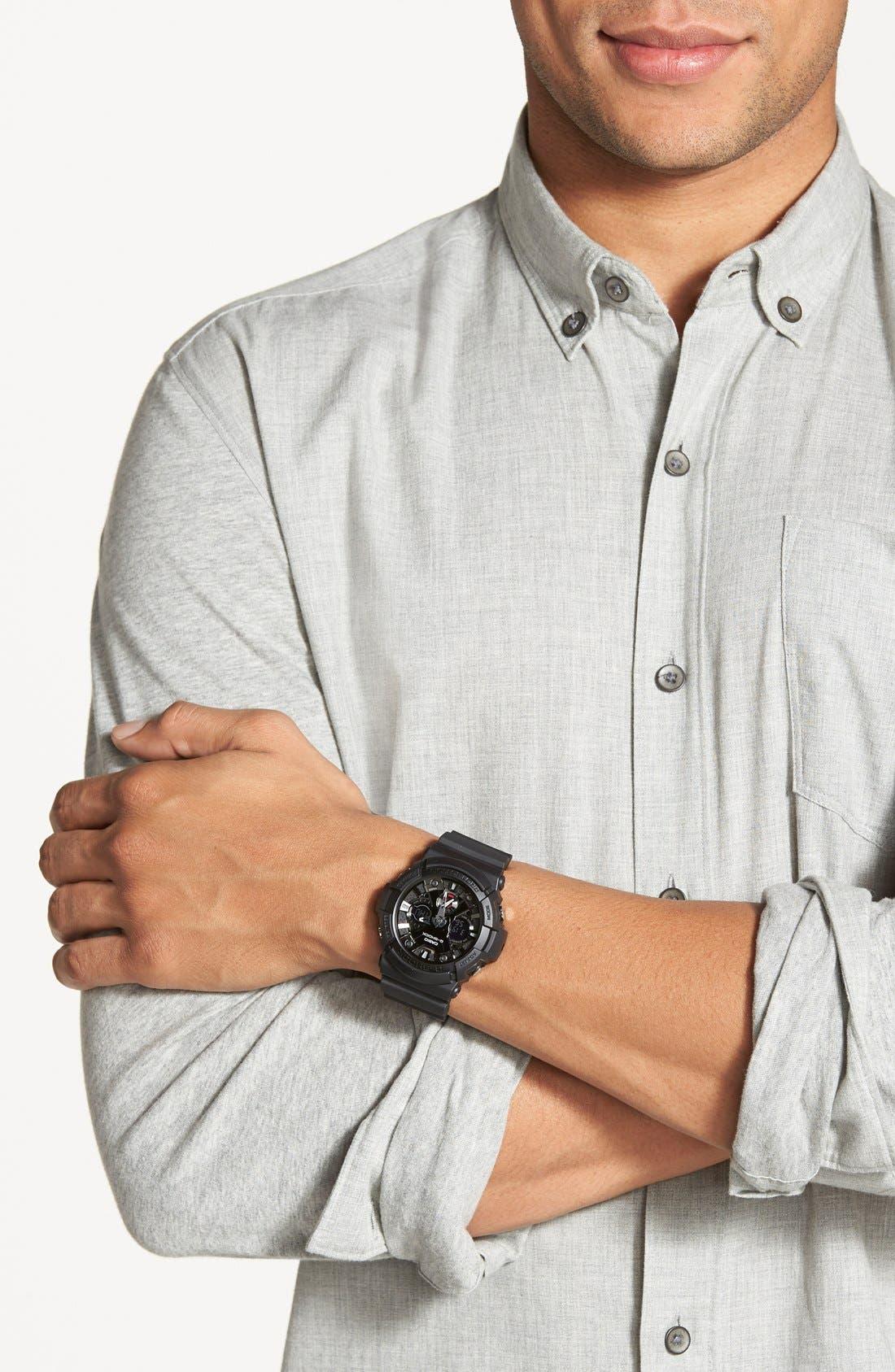 ,                             G-Shock X-Large Dual Movement Watch, 55mm,                             Alternate thumbnail 3, color,                             BLACK