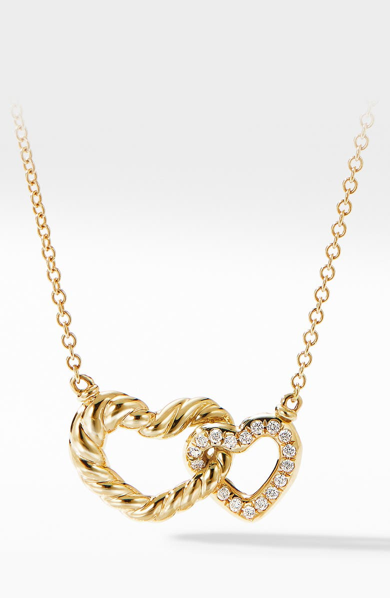 DAVID YURMAN Double Heart Pendant Necklace in 18K Yellow Gold with Diamonds, Main, color, 710