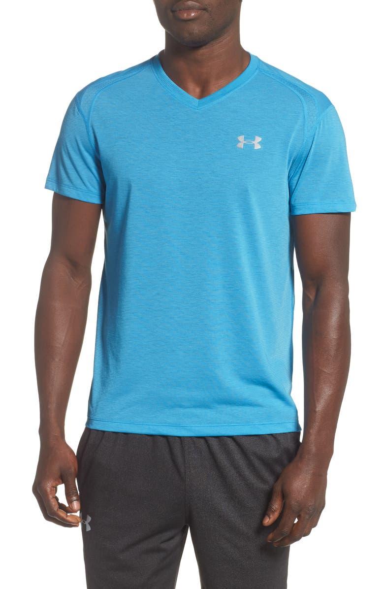 UNDER ARMOUR Siphon V-Neck Performance T-Shirt, Main, color, ETHER BLUE/ ETHER BLUE