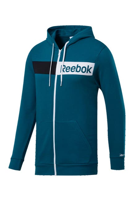 Image of Reebok Linear Logo Full Zip French Terry Hoodie