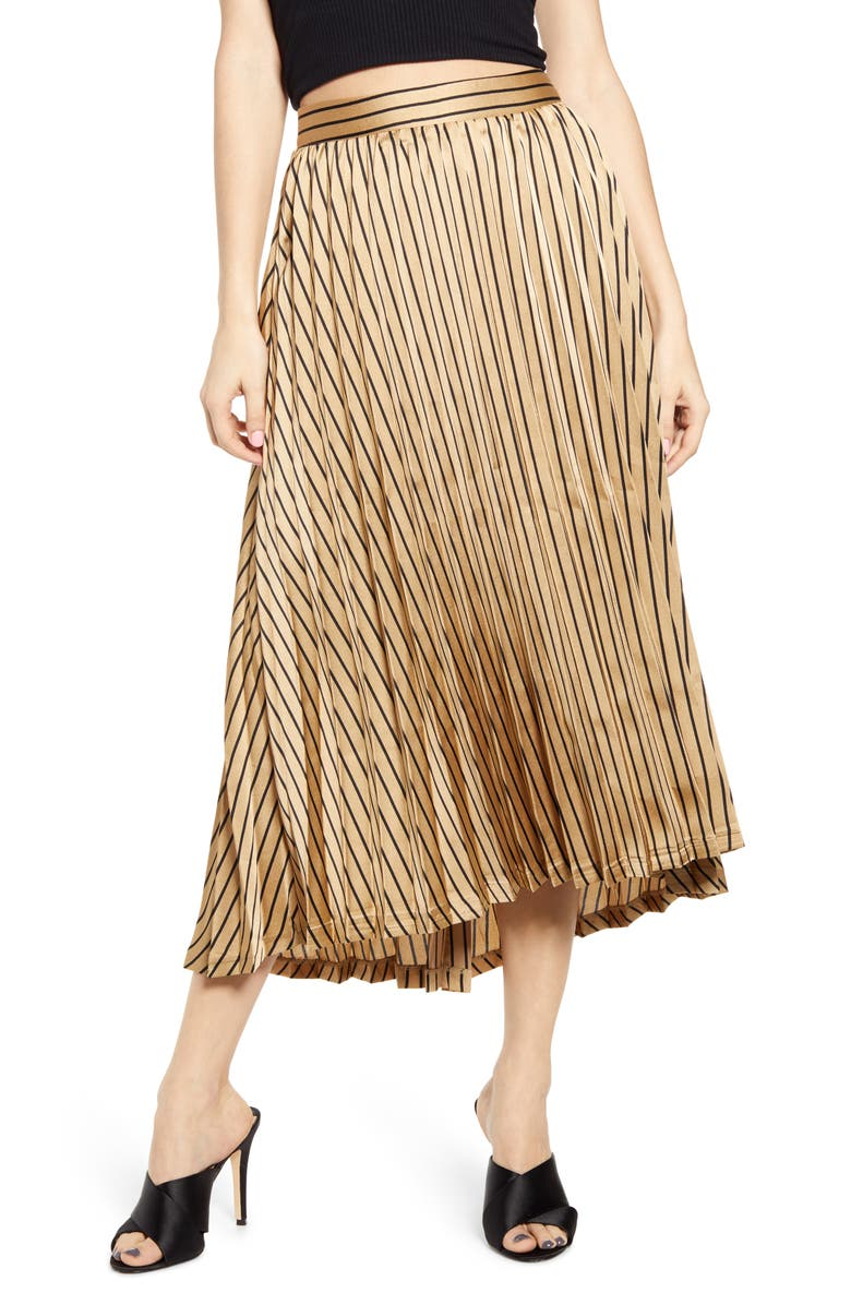 J.O.A. Pleated Midi Skirt, Main, color, GOLD STRIPE