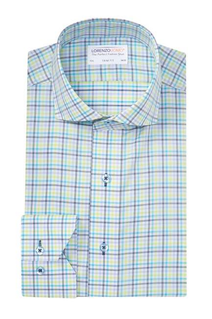 Image of Lorenzo Uomo Textured Check Trim Fit Dress Shirt
