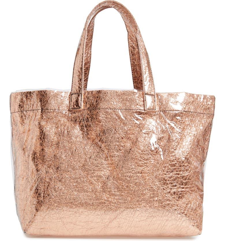 Metallic Faux Leather Tote by Malibu Skye