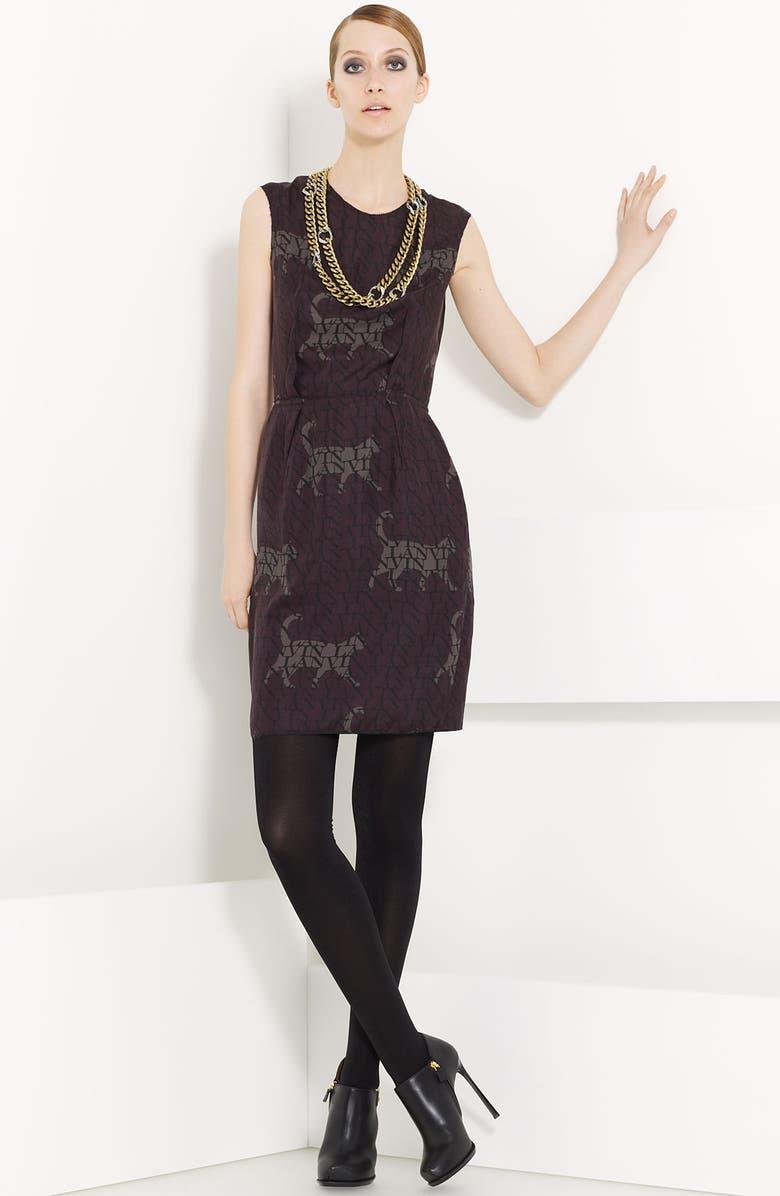 LANVIN Cat & Logo Print Washed Silk Dress, Main, color, PRUNE