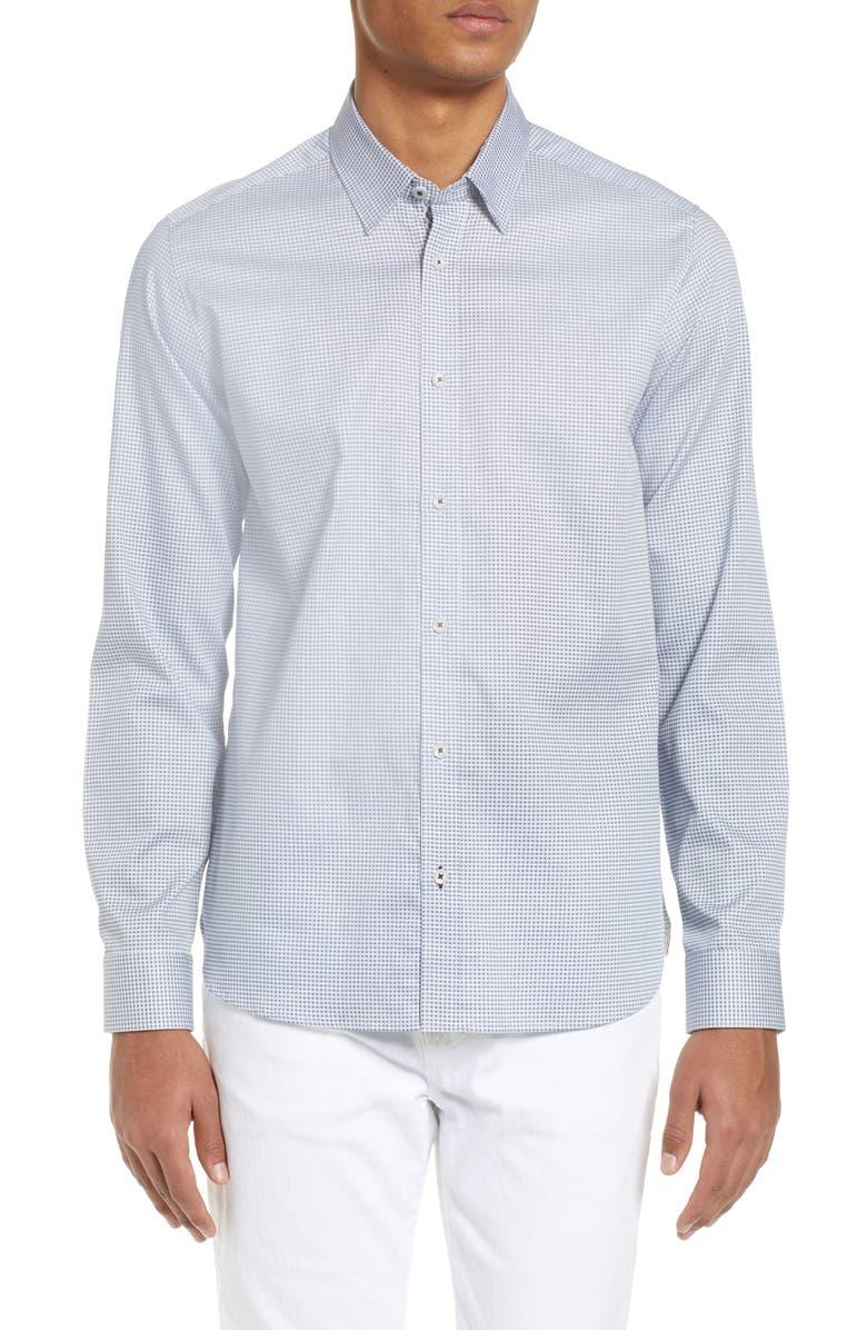 TED BAKER LONDON Byson Slim Fit Print Shirt, Main, color, WHITE