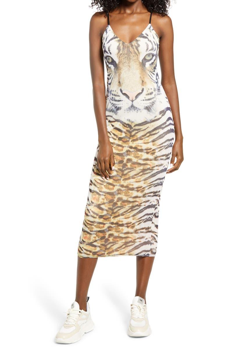 AFRM Amina Sleeveless Midi Dress, Main, color, WILD TIGER