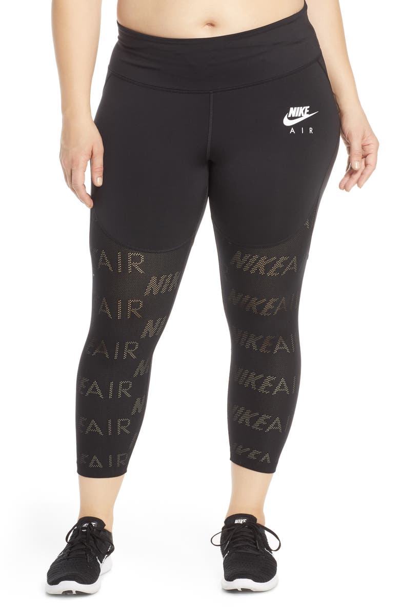 NIKE Air Dri-FIT Crop Training Tights, Main, color, BLACK/ REFLECTIVE SILV