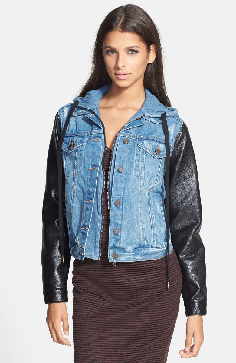 BLANKNYC Mixed Media Denim Jacket, Main, color, RIPPED OFF