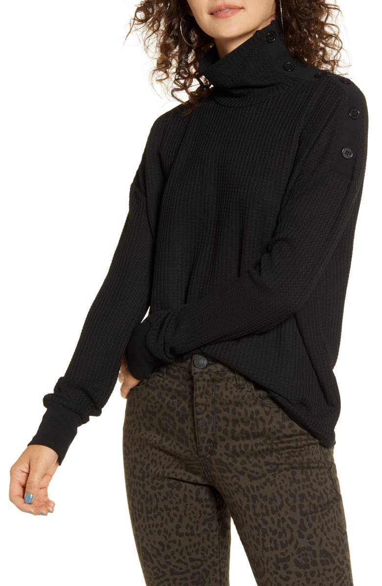 ARTICLES OF SOCIETY Button Turtleneck Thermal Knit Top, Main, color, 001