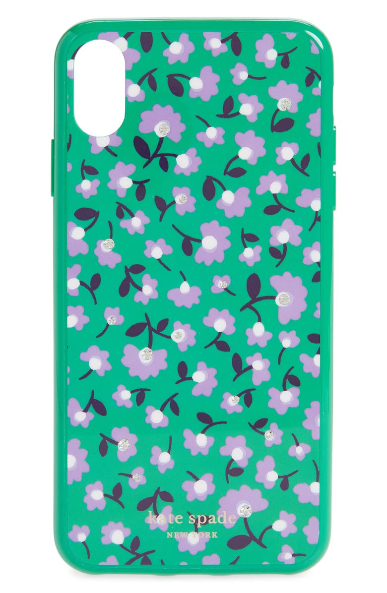 KATE SPADE NEW YORK jeweled party floral iPhone Xs Max, Main, color, 300
