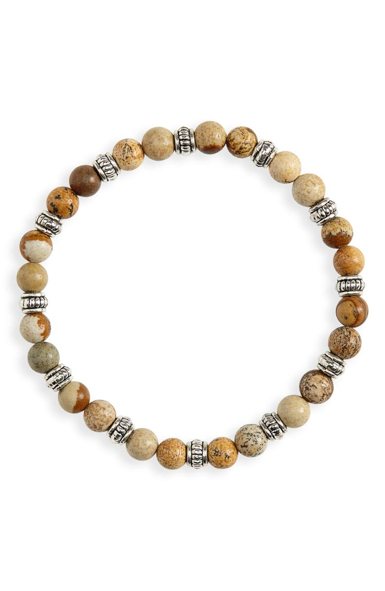 NORDSTROM MEN'S SHOP Beaded Bracelet, Main, color, TAN CINNAMON