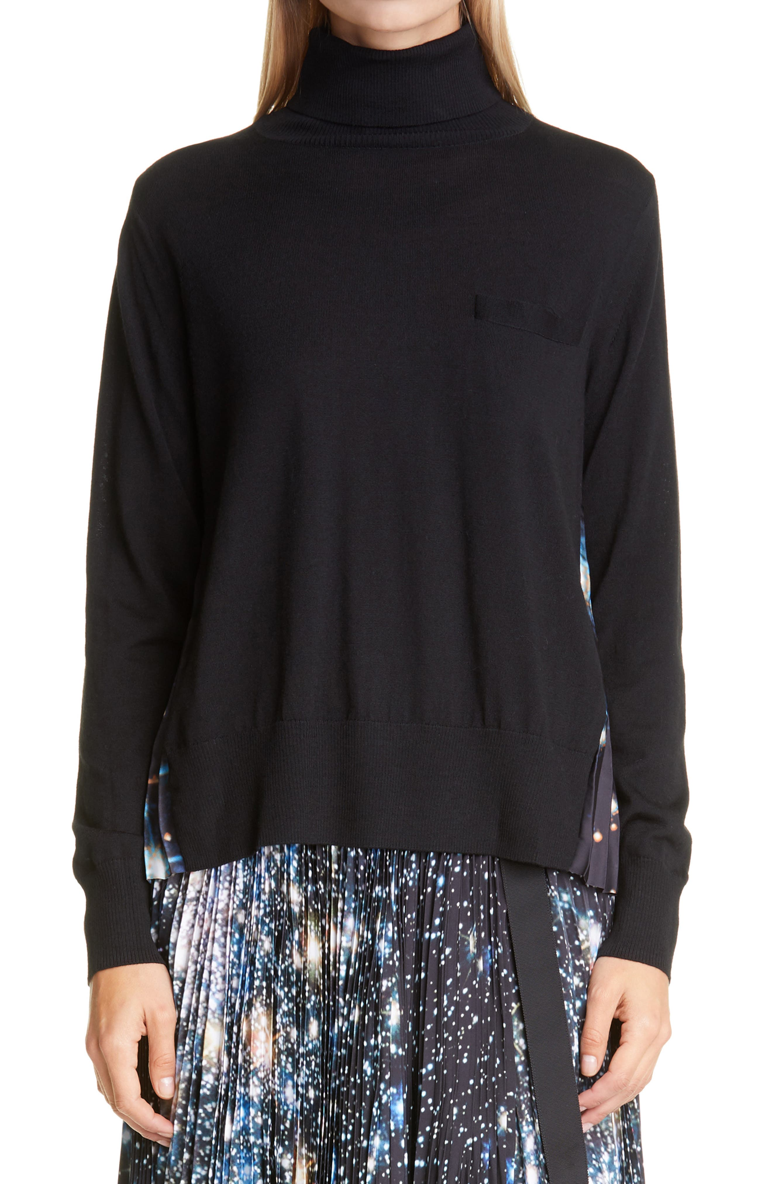 Sacai Star Print Back Pleated Pullover | Nordstrom